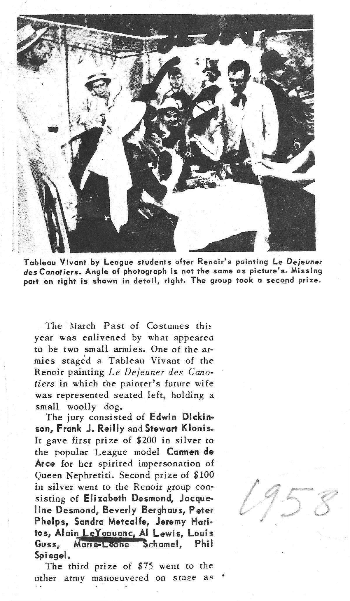 Second prix pour un tableau vivant du Dejeuner des canotiers de Renoir, 1958. Archives Le Yaouanc