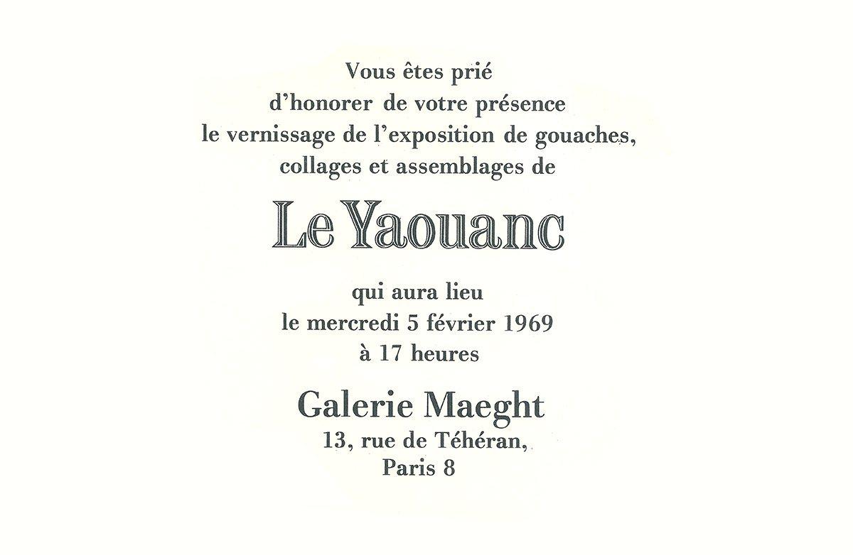 Carton d'invitation à la première exposition d'Alain Le Yaouanc à la galerie Maeght. © Le Yaouanc