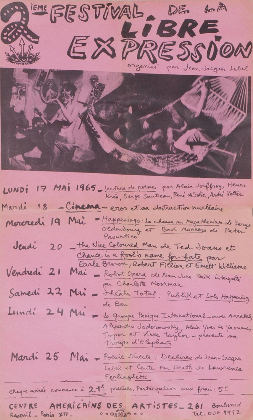 Affiche du 2ème festival de la libre-expression, mai 1965. Crédit: © Alain Le Yaouanc. Photo: Luc Delaborde.