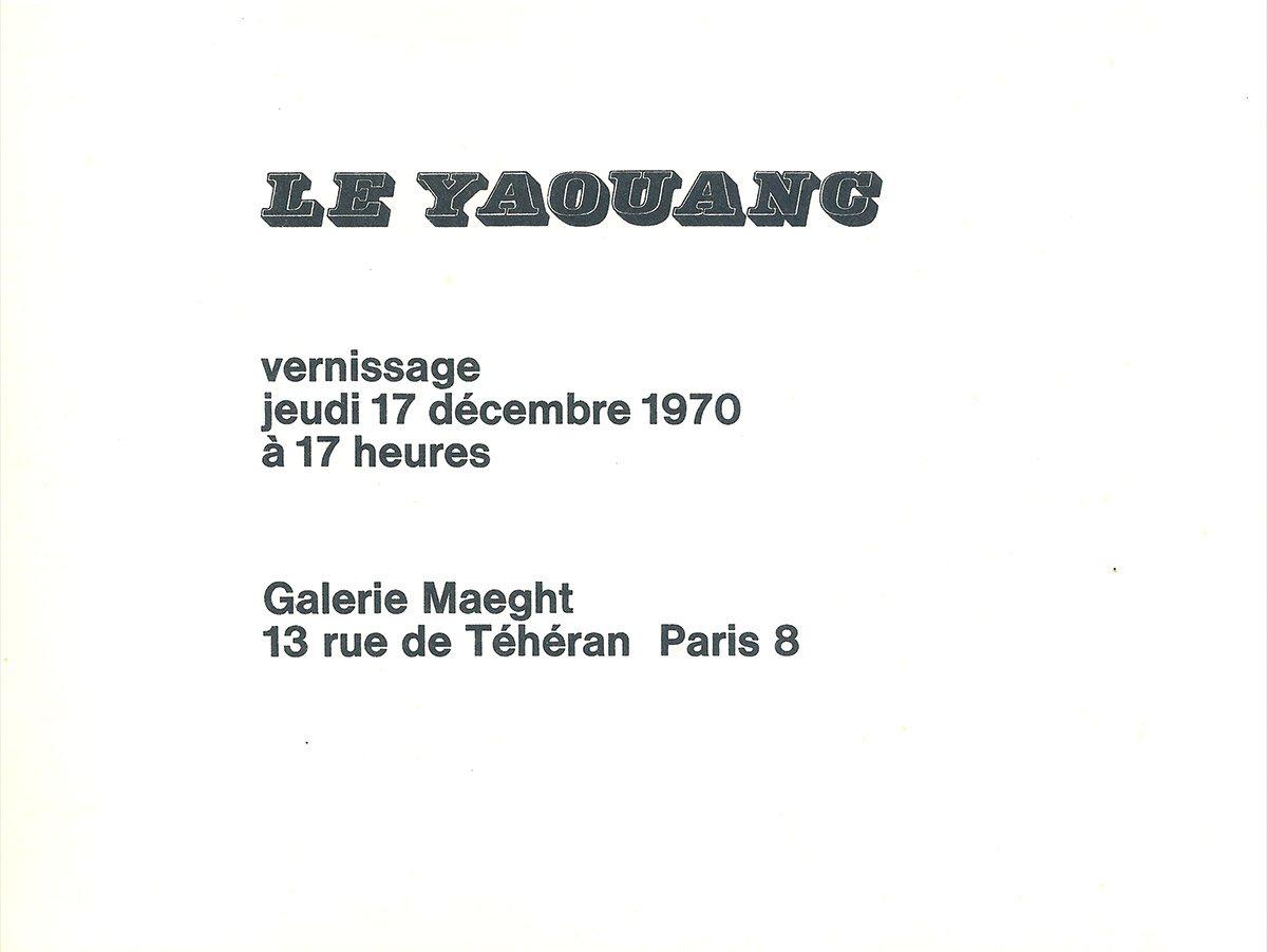 Carton d'invitation à l'exposition, vernissage le 17 décembre 1970. © Le Yaouanc