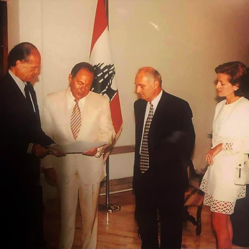 Le Yaouanc avec Emil Lahoud, Liban, 2000